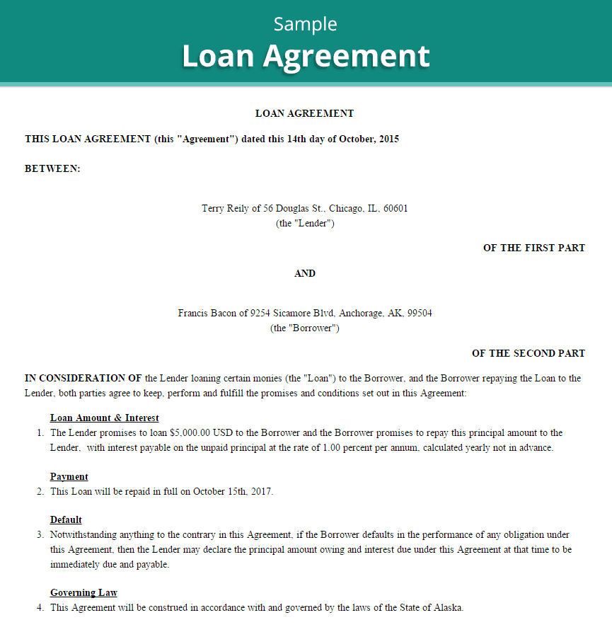 Personal Loan Agreement Template Archives Word Templates – Private Loan Contract Template