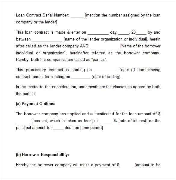 Loan Agreement Templates  Word Excel Pdf Formats