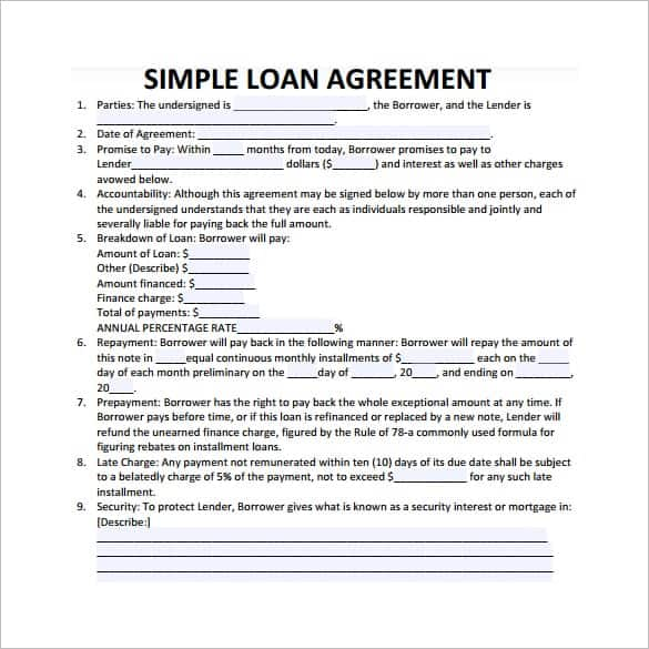 20 Loan Agreement Templates Word Excel PDF Formats – Loan Form Template