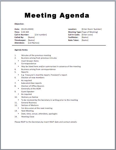 sample meeting agenda templates - Template