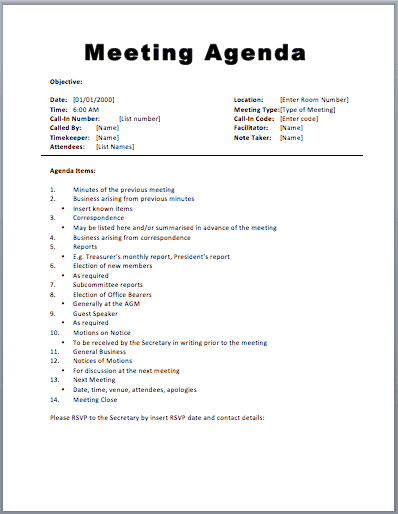 Great 20+ Meeting Agenda Templates Intended For Meeting Plan Template