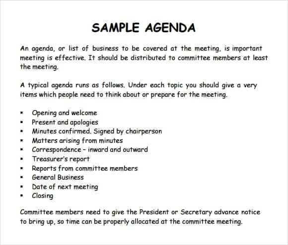 Sample Of Agenda Format