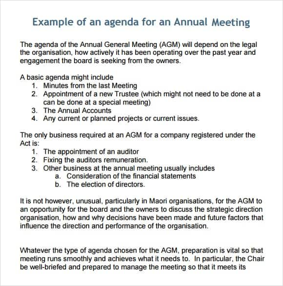 Business Meeting Agenda Templates  Free Sample Exampleagenda
