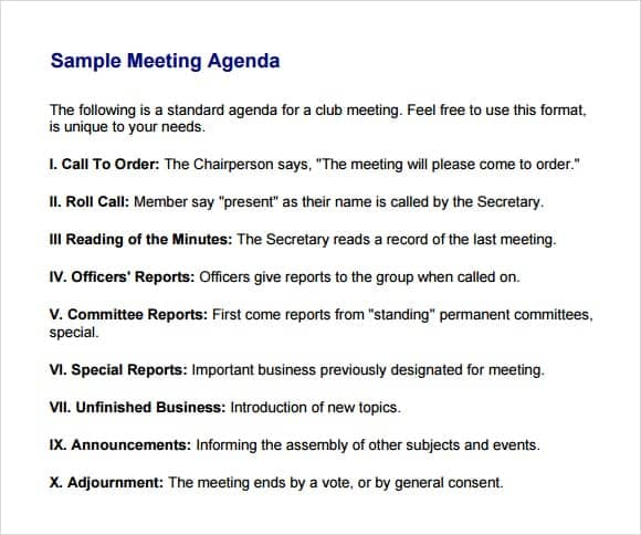 Sample Of Meeting Agenda. Example Education/Training Meeting