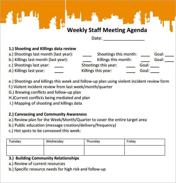 Staff Meeting Agenda Template. Weekly Staff Meeting Agenda