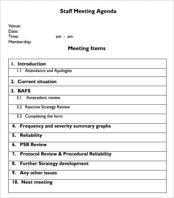 Meeting Agenda Template 20  Meeting Form Template