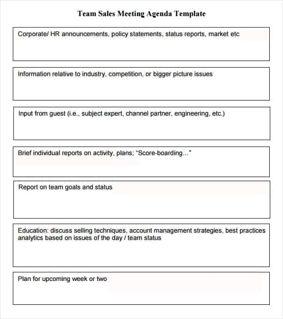 Agenda Template Meeting. Sample Formal Meeting Agenda Template For