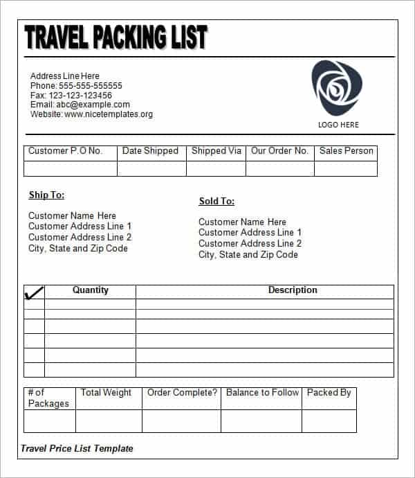 14 Packing List Templates Word Excel PDF Formats – Packing List Format in Word