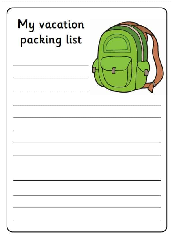 Travel Packing List Template Archives  Word Templates