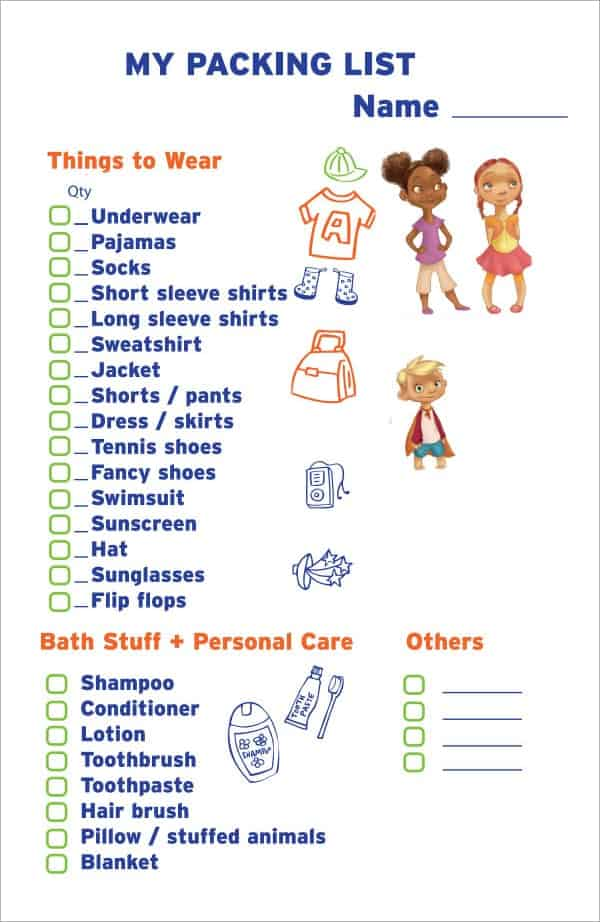 Sample Vacation Checklist Free Printable Vacation Packing List 25 – Packing Checklist Template
