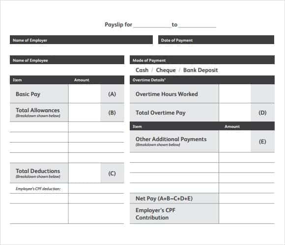 10 Payslip Templates Word Excel PDF Formats – Simple Payslip Template