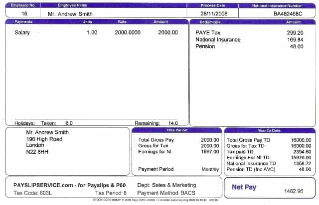 Payslip Template 7 Intended For Proforma Payslip