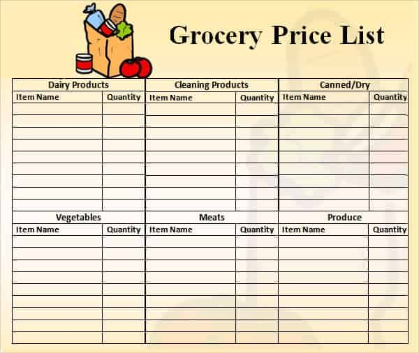 Grocery Price List Template - Constes.com