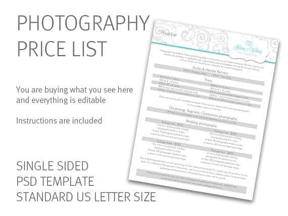 price list template 20