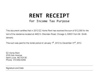 how to write out a rent receipt