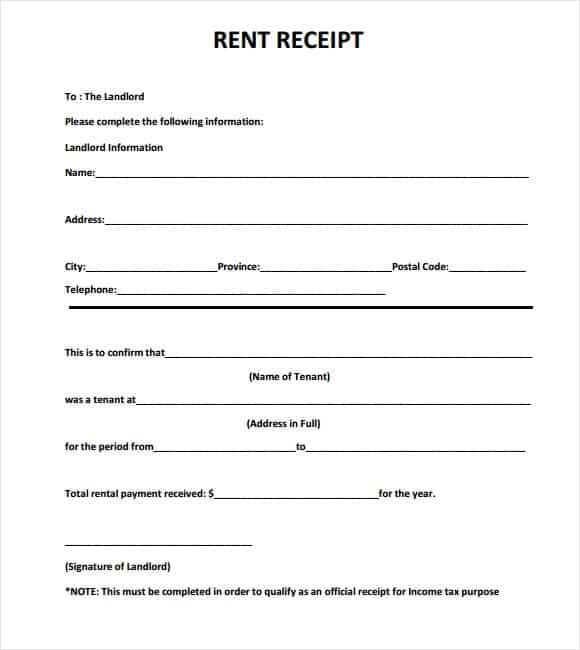 9 Rent Receipt Templates Word Excel PDF Formats – Free House Rent Receipt Format