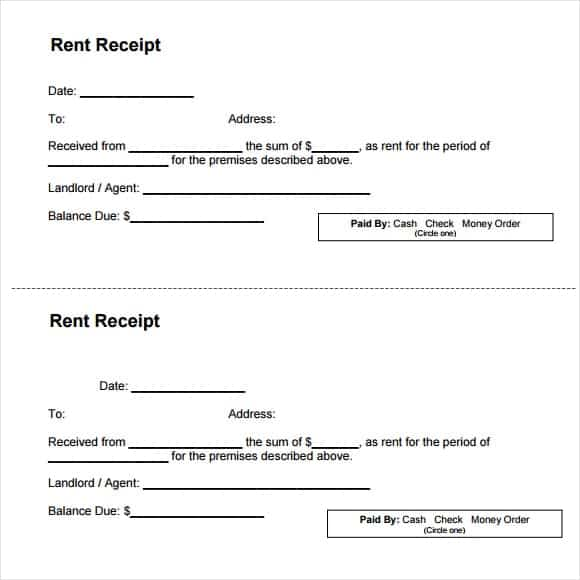 9 Rent Receipt Templates Word Excel PDF Formats – Receipt for Rental Payment
