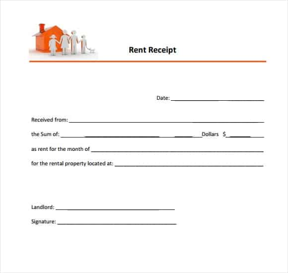 Colorful Rent Receipt Template