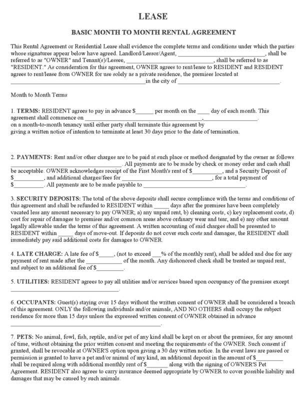 Rental/Lease Agreement Template