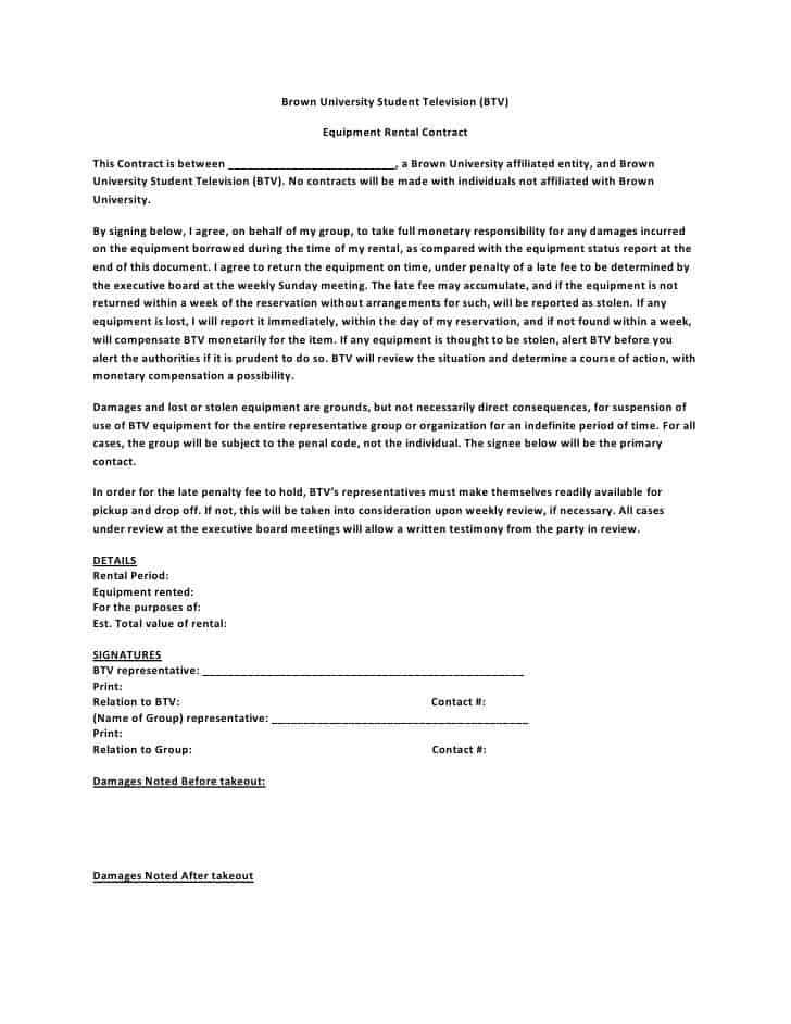Equipment Rental Agreement Form - Canelovssmithlive.Co