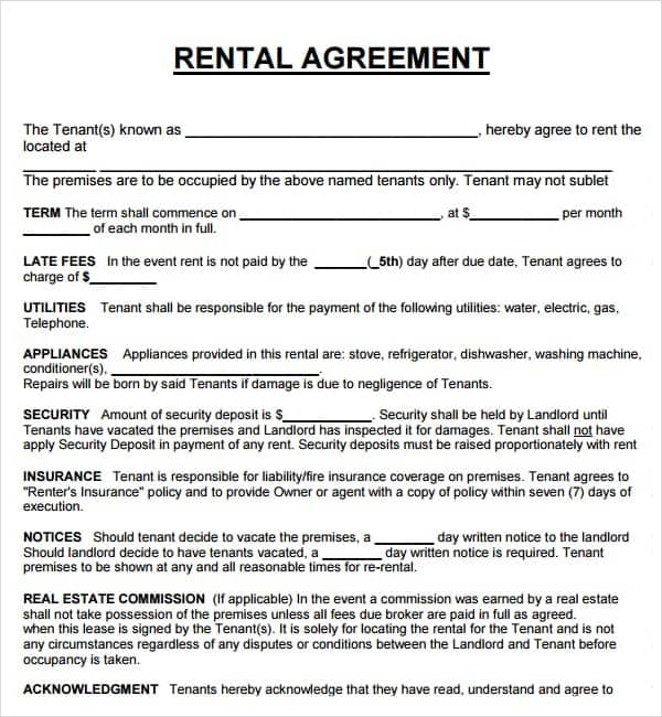 Lease Agreements Sample Order Best Price Generic Rental Agreement