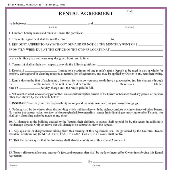 Doc592799 Free Tenant Agreement Form Printable Sample Free – Rental Agreement Form Template