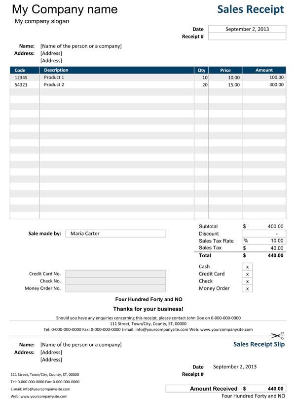 company receipts templates