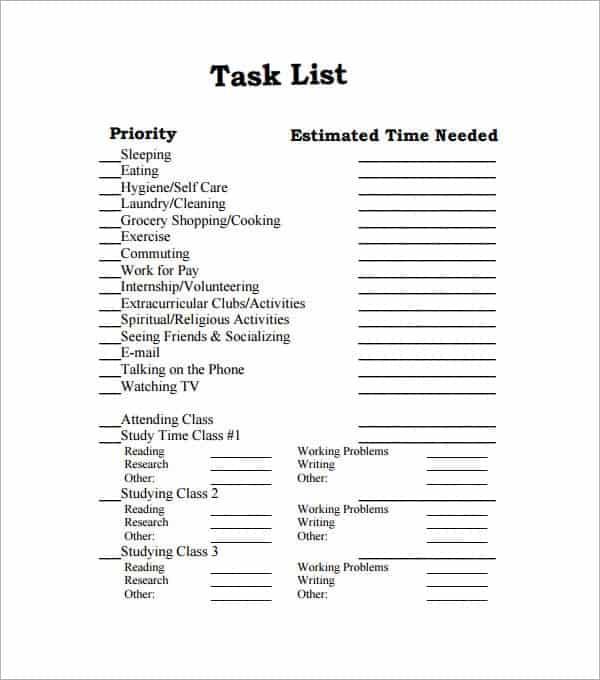 word task list