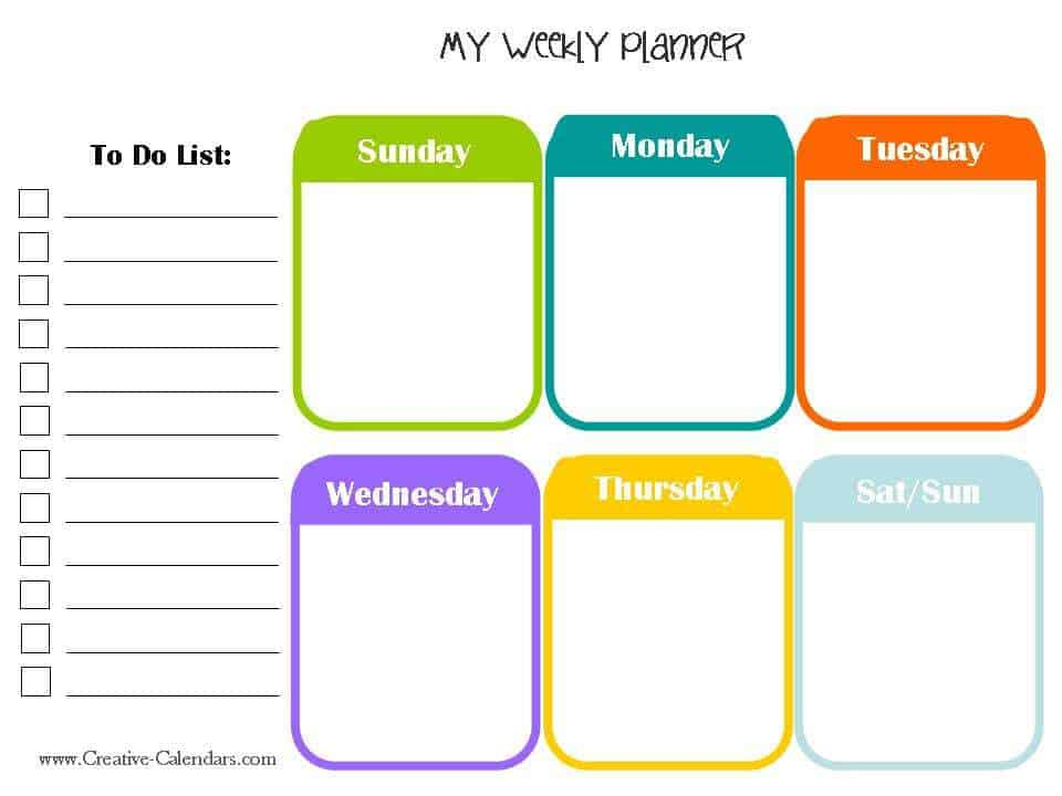 weekly to do template