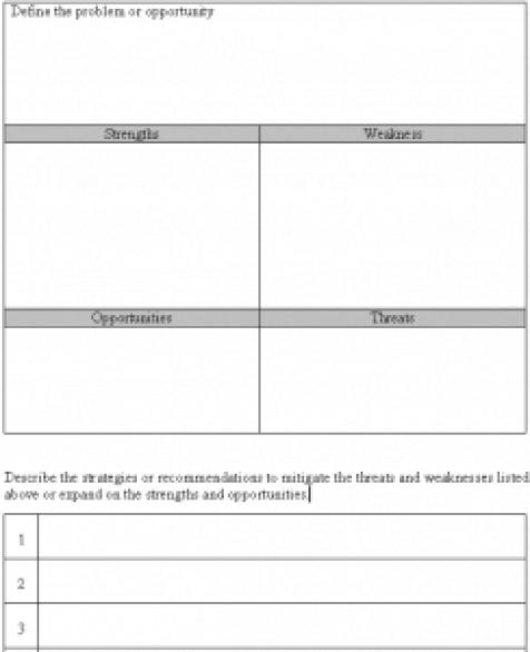 SWOT analysis template 651541