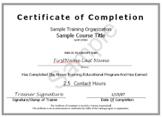 certificate of completion free template word