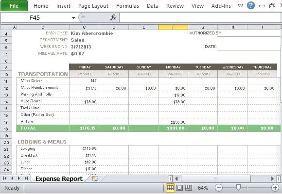 10 Expense Report Templates Word Excel PDF Formats – Expense Templates