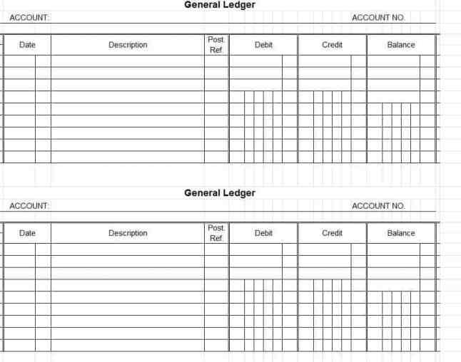 subsidiary ledger template - 9 general ledger templates word excel pdf formats