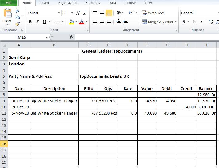 9 General Ledger Templates Word Excel PDF Formats – Business Ledger Example