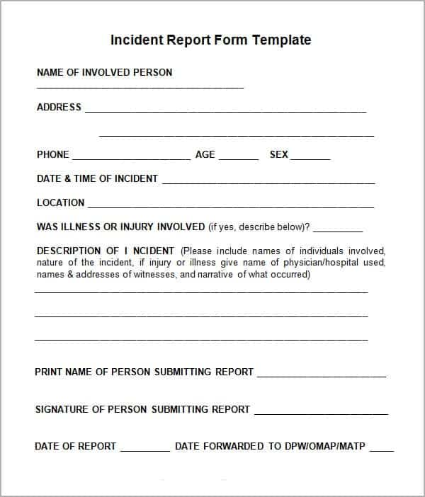 Incident Report Format Businesses Or Public Organizations Use This