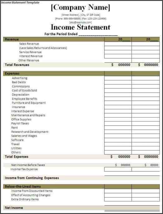 income statement template 564851