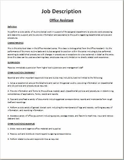 9 Job Description Templates Word Excel PDF Formats