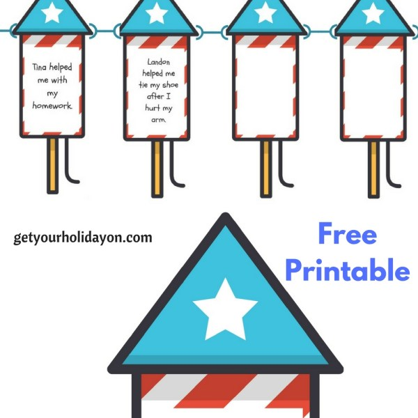 Parents looking for decorating and writing ideas for the fourth of July? Why not print out this free fireworks template. It's a great, fun, and creative way to celebrate and decorate for the fourth of July. Light up your house or classroom with these kindness fireworks. It is a great way for children or students to share what they saw other kids doing to be kind.