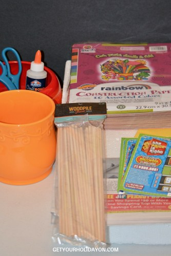 supplies needed to make a diy lottery gift basket.