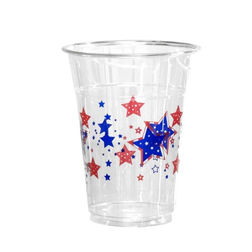 Patriotic50 Count Disposable Plastic Printed 16-Ounce Party Cups