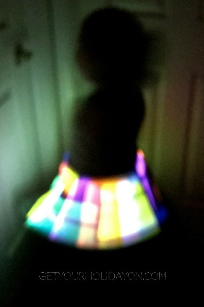 This fun and unique glow in the dark skirt is so cool, fun, and REALLY easy to make! Neon glow bracelets add that creativeness to the skirt that will make the whole evening extra fun for your child. I made sure to add the glow sticks all around my daughter's skirt so you could see them in the front and the back.My daughter loved this and when she would spin she lit up the room.♥