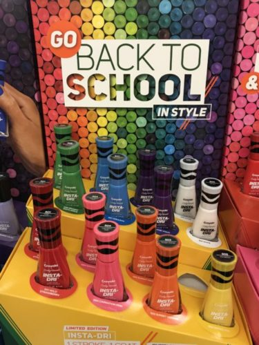 Take the day before or a couple days prior to school starting and do your daughter's nails. This will be such a fun and stylish way to go back to school with pretty nails. It will make for great mom & daughter time too. :) Check out this special Limited Edition Sally Hansen Insta Dri Crayola Nail Polish for back to school fun.