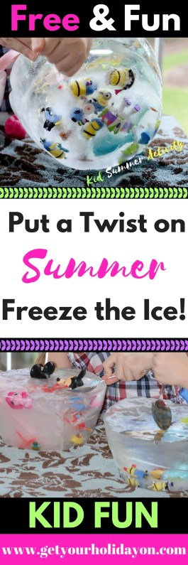 """Have you been searching for a fun activity for the kids to do this summer? This idea is a great way to cure the """"boredom blues"""" and keep the kids entertained. Instead of playing in the water... put a twist on summer and freeze the ice."""