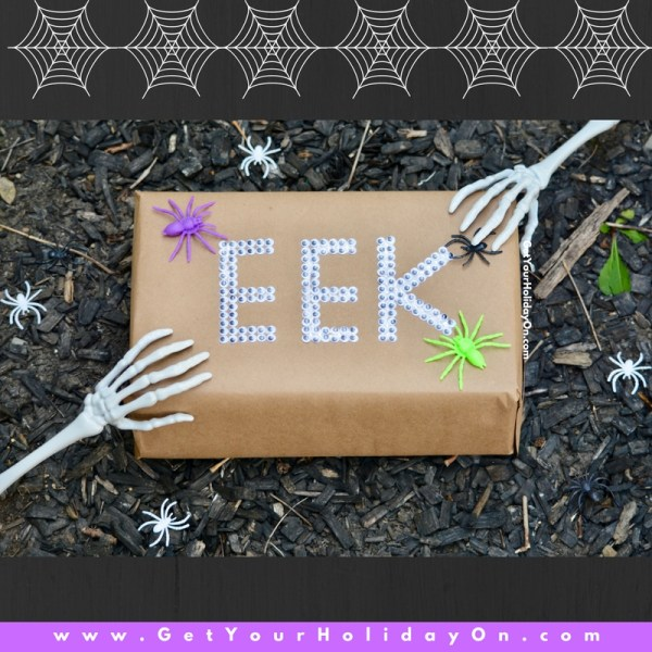If you're in the market for DIY ideas on how to create a Halloween themed gift... You will want to see how easy it is to dress up a package. This Halloween EEK themed gift is really easy to make and perfect for the Halloween birthday, Anniversary, or other themed special occasion.