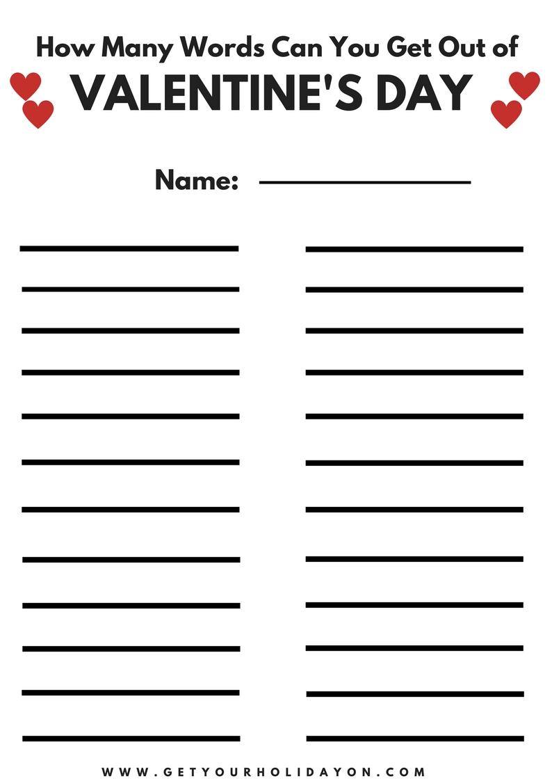 graphic regarding Word Game Printable called Valentines Working day Phrase Activity Absolutely free Printable Attain Your Holiday vacation Upon