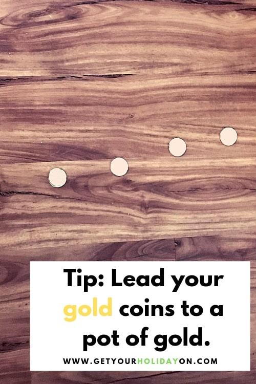 Sneaky Leprechaun Fun a trail full of lucky gold coins! #gold #leprechaun #tricksforkids #momlife