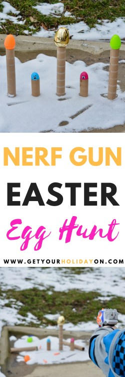 Nerf Gun Easter Egg Hunt | Point the gun at the eggs, shoot the darts, reload, and pull the trigger knocking down as many eggs as possible.#nerfgun #momlife #boymom #diyeaster