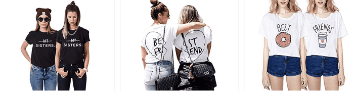 Best friend hashtags but with awesome t-shirts too!