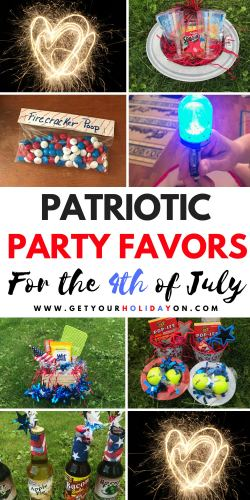 Where to get party favor ideas? Get Your Holiday On has Patriotic Party Favors to Make perfect for the 4th of July or any American holiday celebration! #partyfavors #diycrafts #diysummer #redwhiteandblue