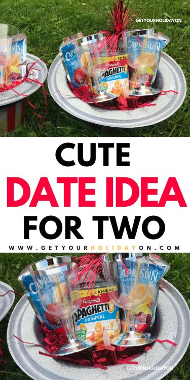 This candlelight dinner for two is so easy to make! What you will need is SpaghettiOs, shredded red crinkle paper, tissue paper, plastic wine glasses, Capri Suns, a patriotic hat, and don't forget... #dating #partyplanner #giftbasket #couples